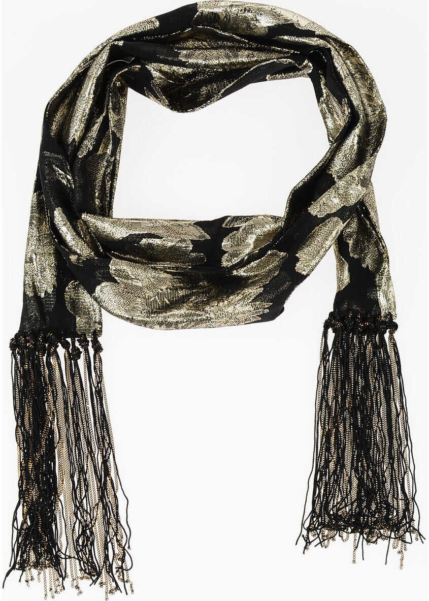 Saint Laurent 10,5x200cm Glittered Foulard BLACK