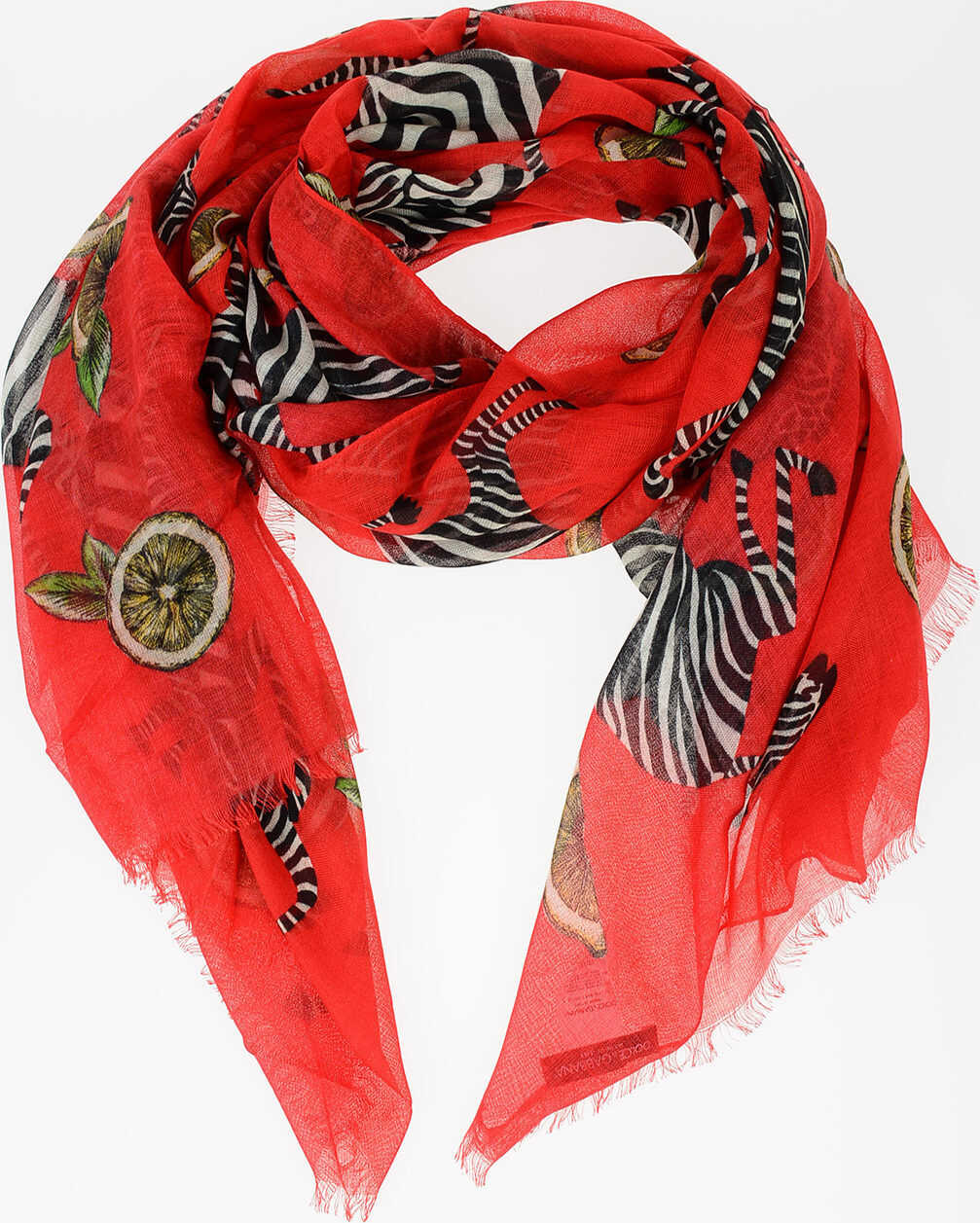 Dolce & Gabbana Cashmere blend scarf With Zebra Print RED
