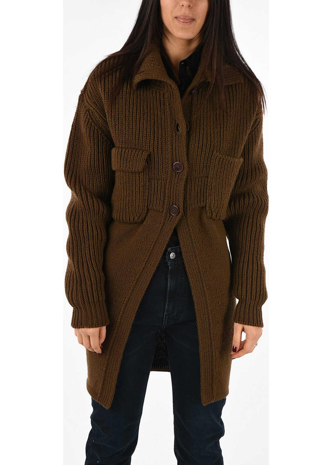 Chloe Virgin Wool Knitted Coat BROWN
