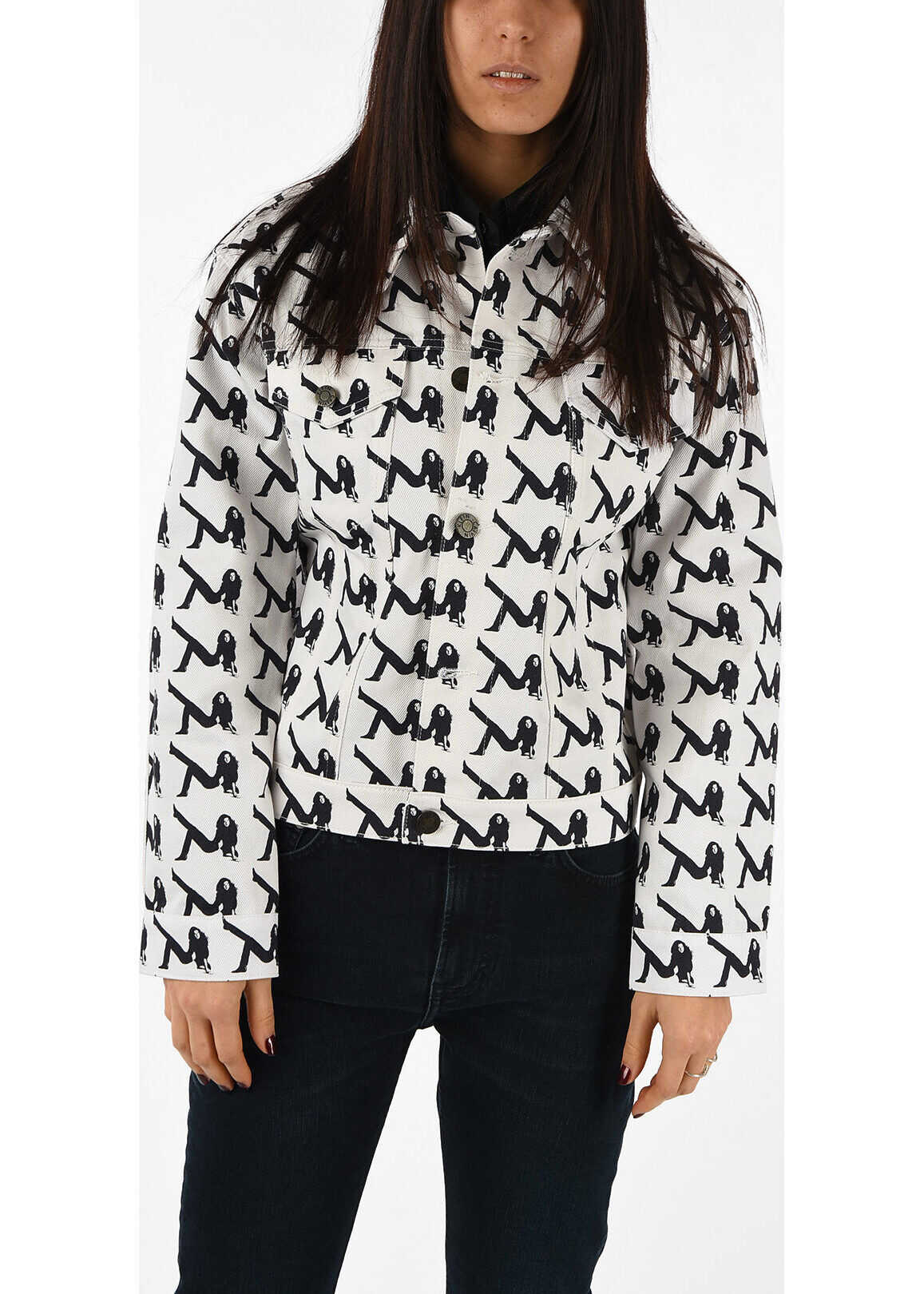 Calvin Klein Denim Printed Jacket WHITE