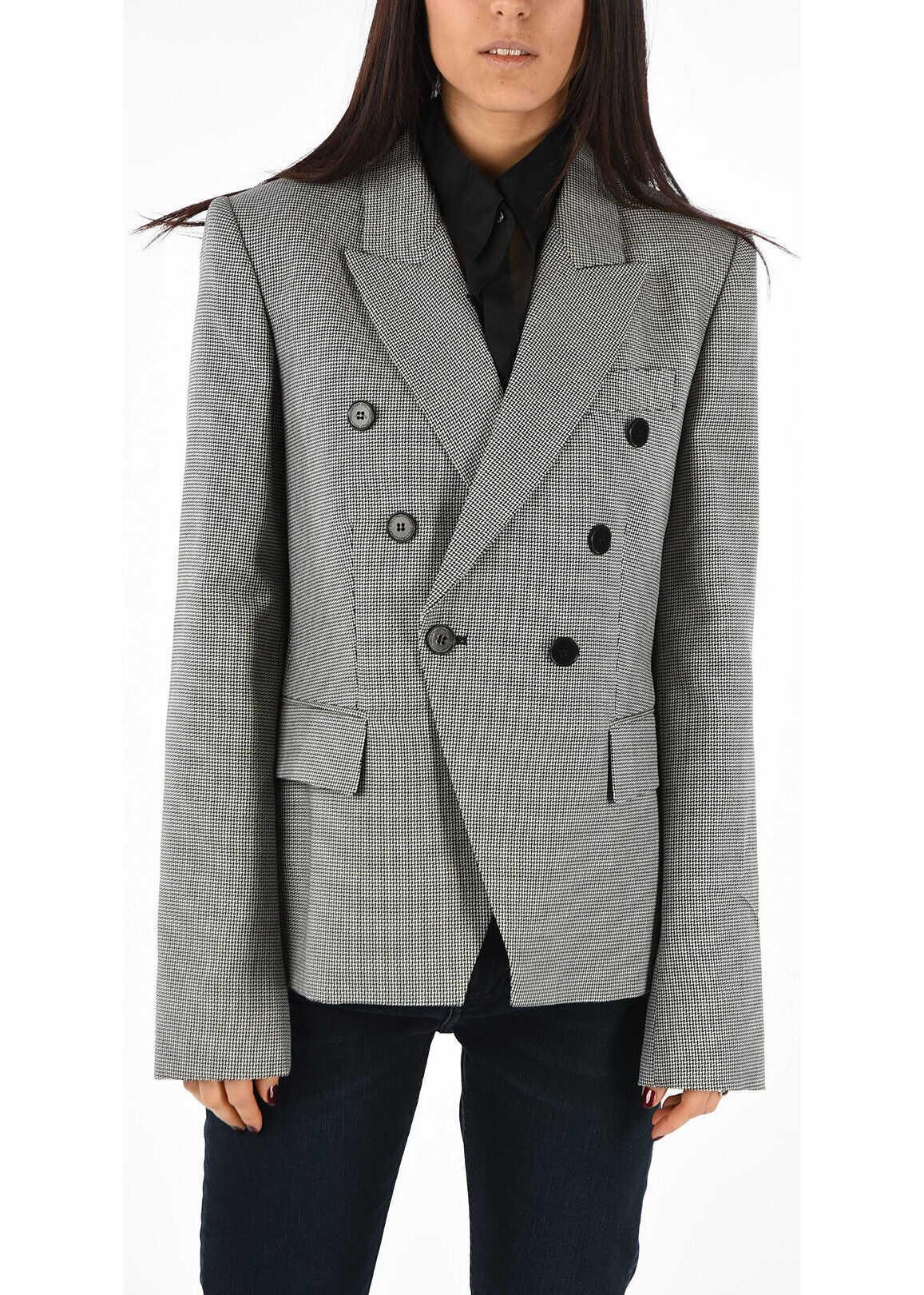 adidas by Stella McCartney Wool Pied de Poule Blazer BLACK & WHITE