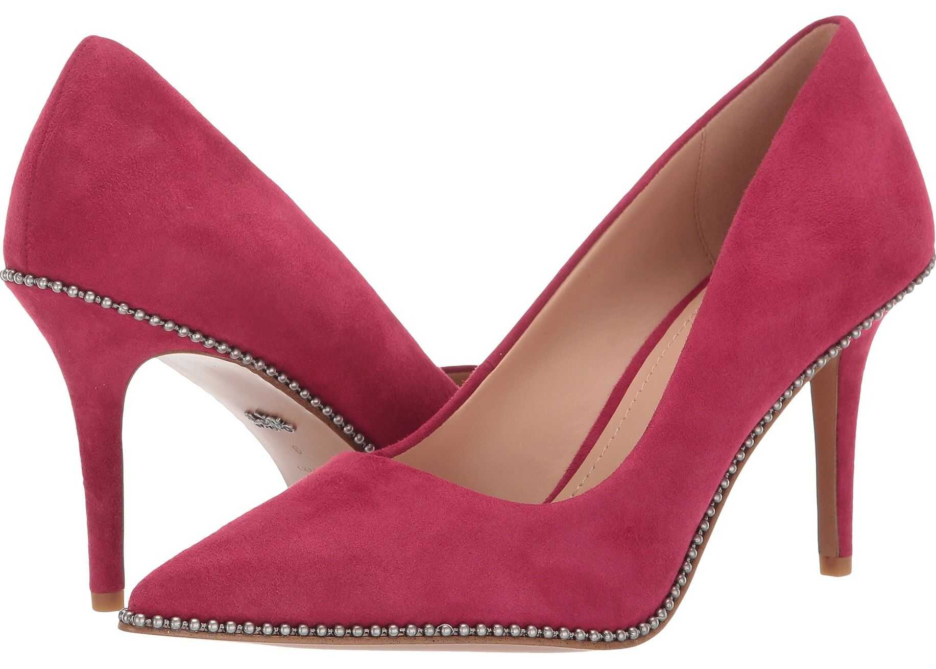 COACH 85 mm Waverly Pump with Beadchain Bright Cherry Suede