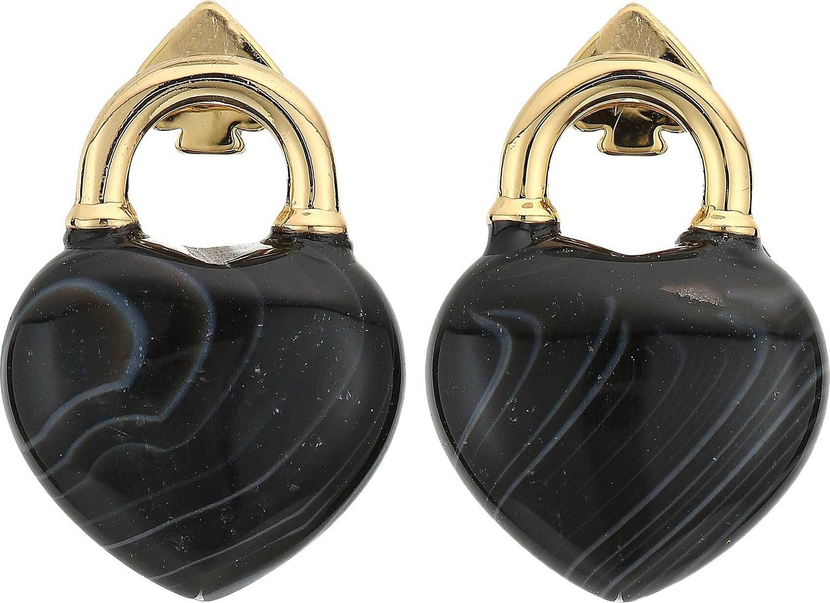 Kate Spade New York Open Heart Stone Lock Studs Earrings Black