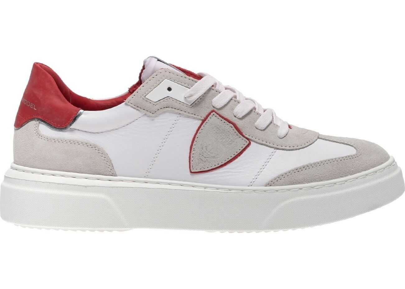 Philippe Model Temple S Mixage Pop Sneakers In Blanc Rouge White