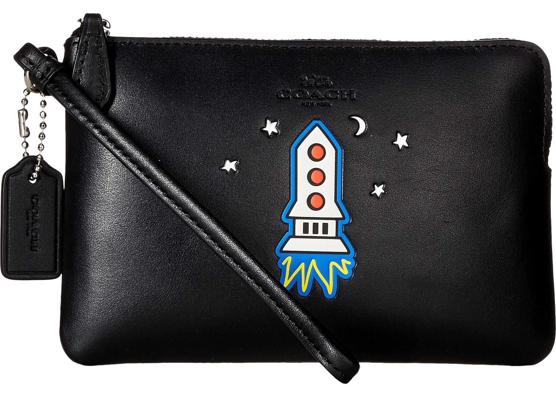 COACH Box Program Embossed Small Wristlet SV/Black