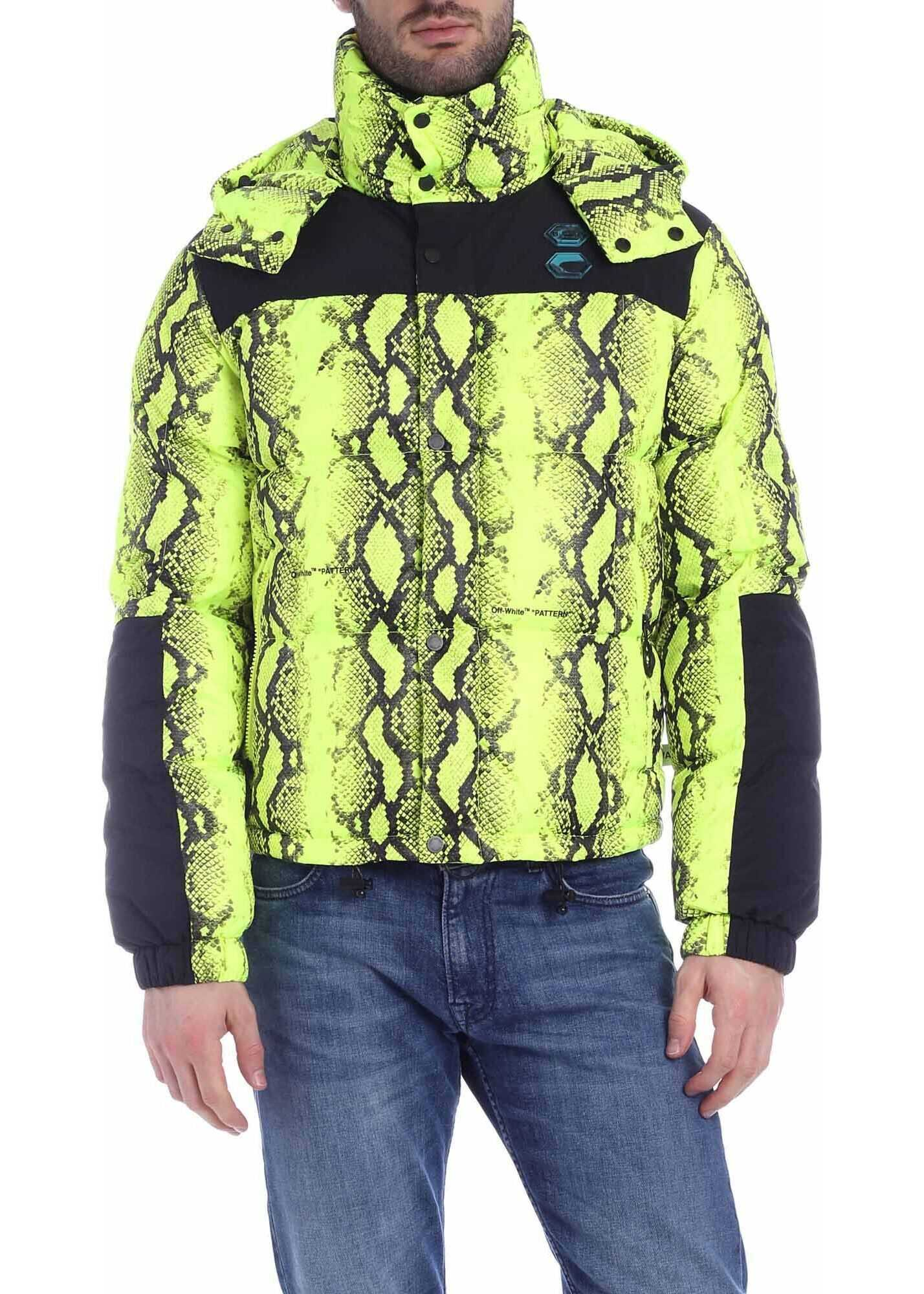 Off-White Snake Down Jacket In Neon Yellow Animal print
