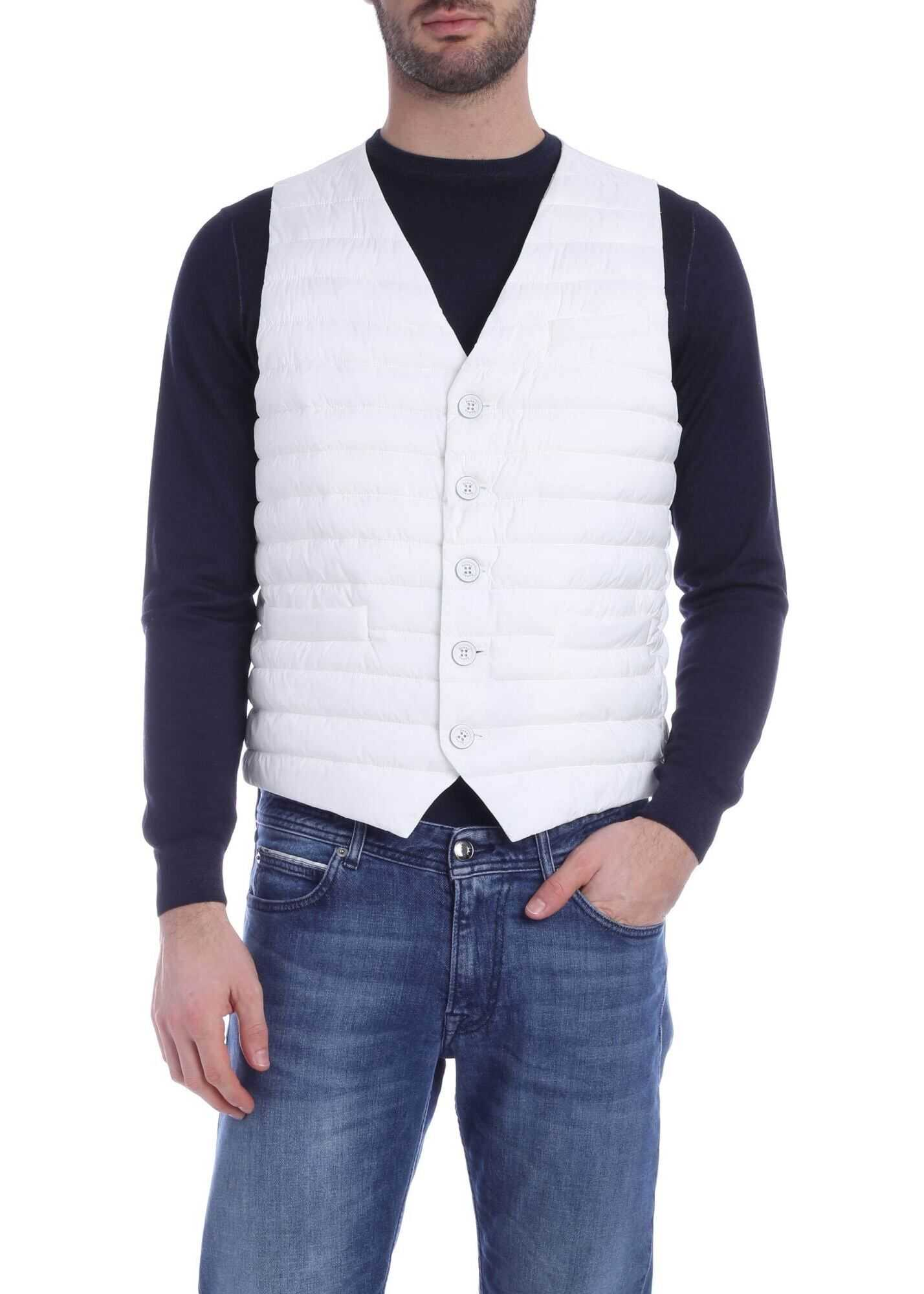 Sleeveless Down Jacket In White With Logo thumbnail