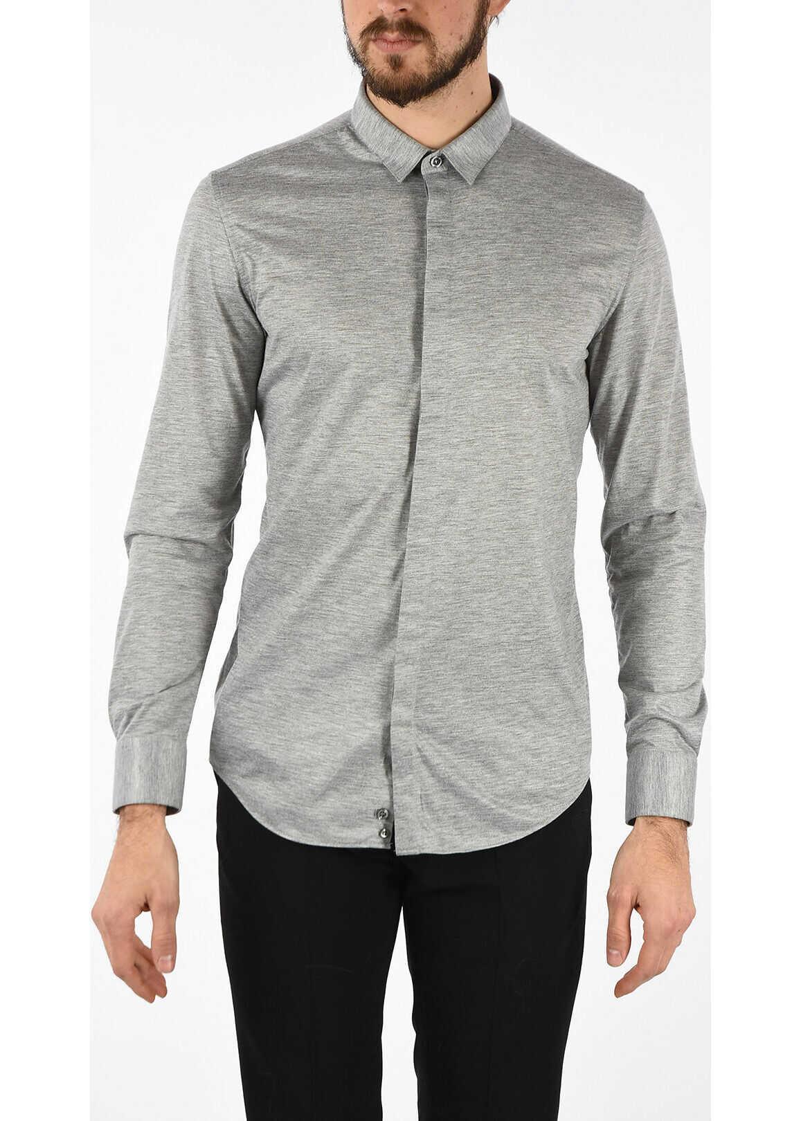 Armani EMPORIO Shirt with Hidden Buttons GRAY