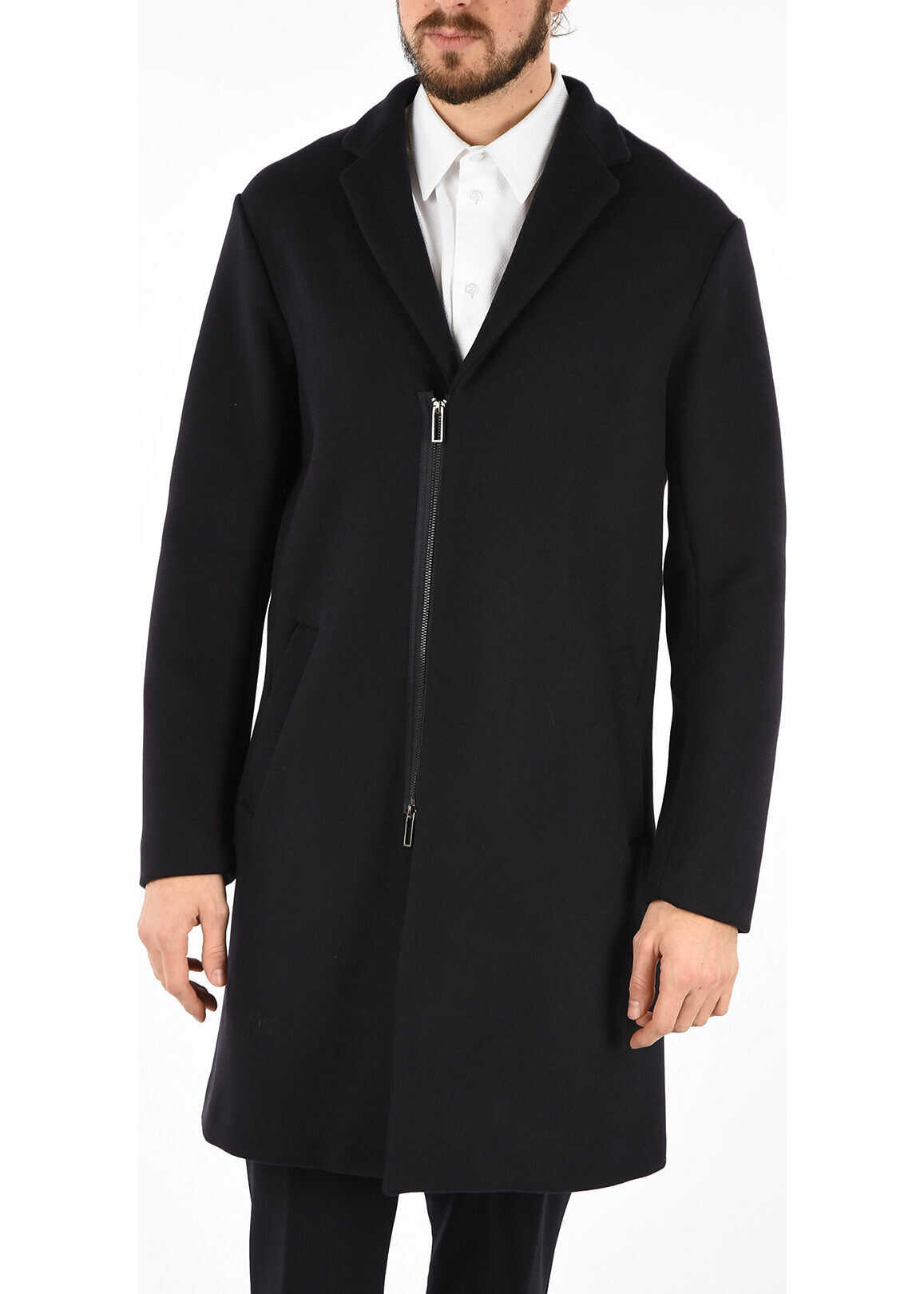 Armani EMPORIO Wool Zipped Coat BLUE