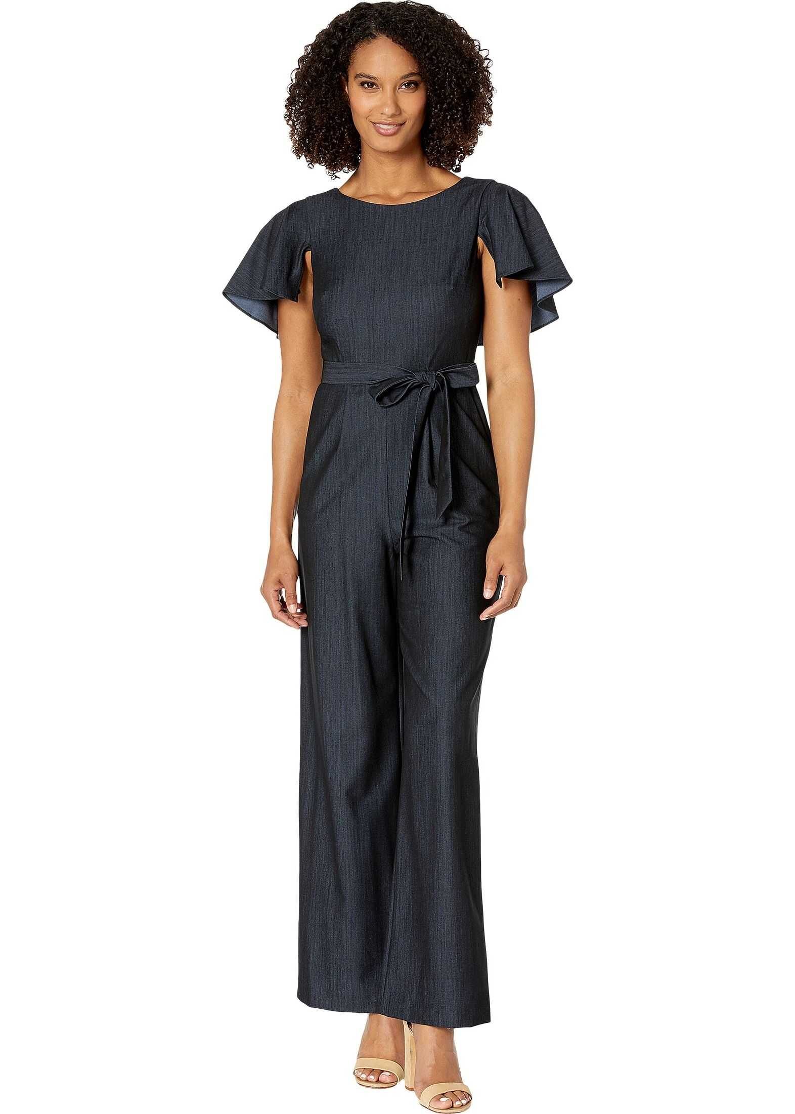 Calvin Klein Flutter Sleeve Jumpsuit w/ Tie Belt Blue