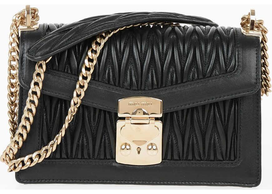 Miu Miu Quilted Leather PATTINA Shoulder Bag BLACK