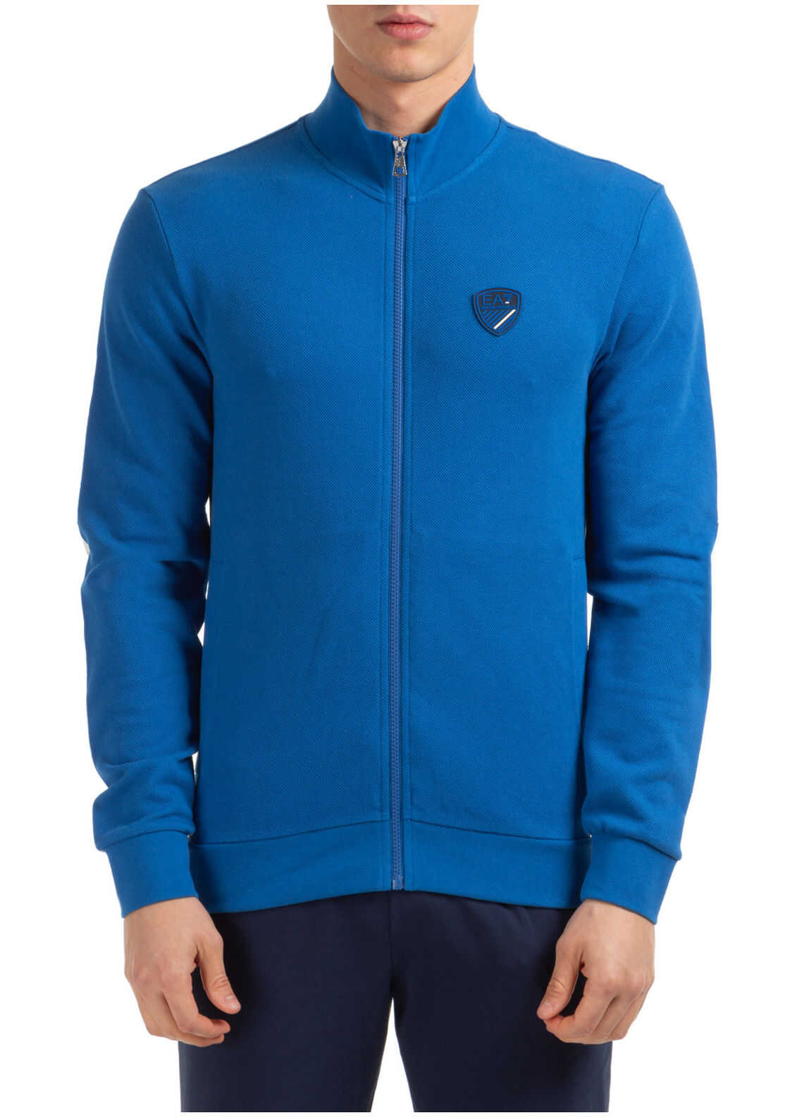 EA7 Zip Sweat Blue