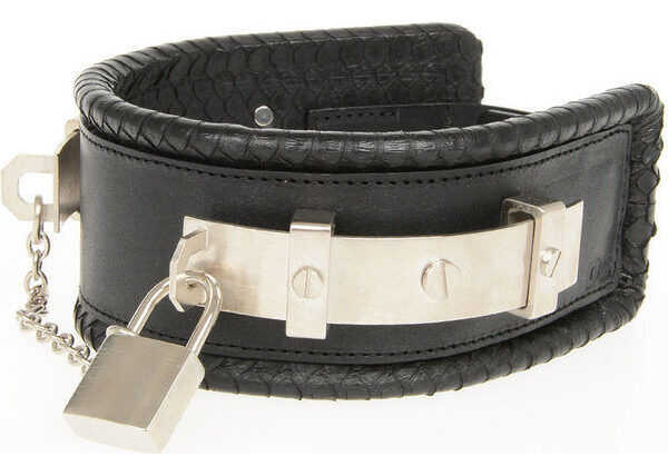 DSQUARED2 Leather and Ayers Skin Chocker BLACK