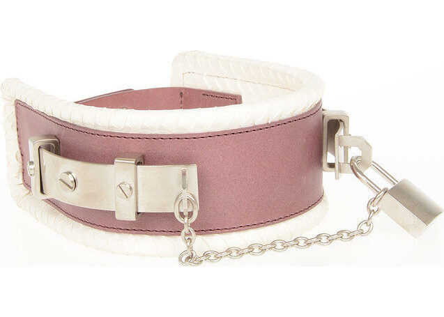 DSQUARED2 Leather and Ayers Skin Chocker VIOLET