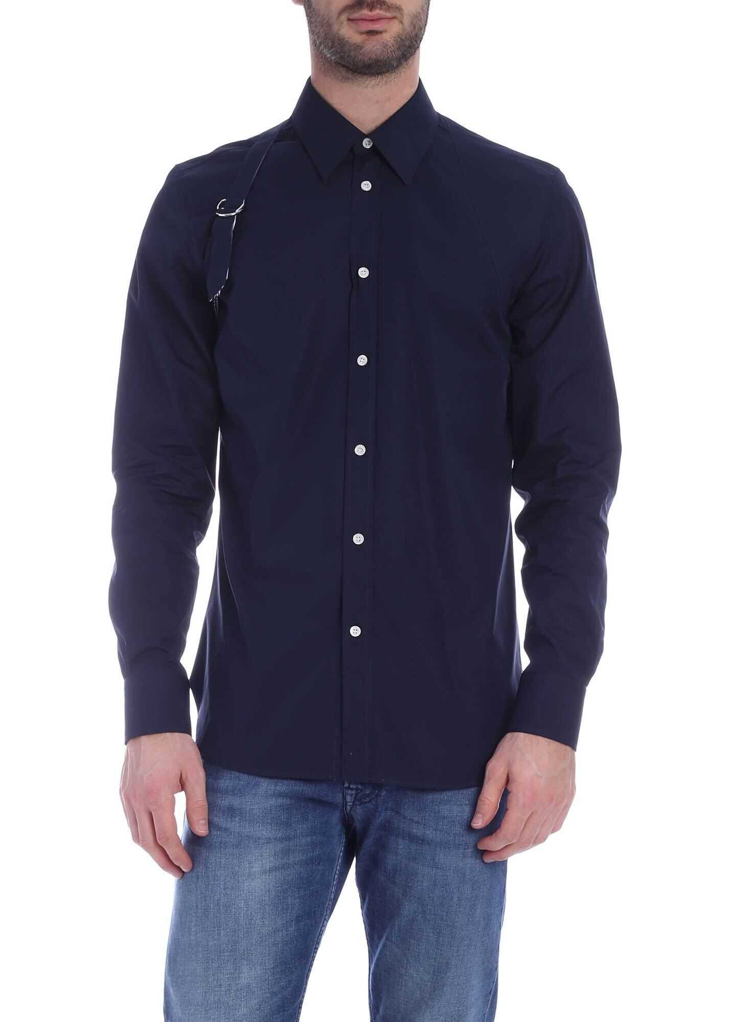 Alexander McQueen Shirt In Blue With Decorative Strap Blue