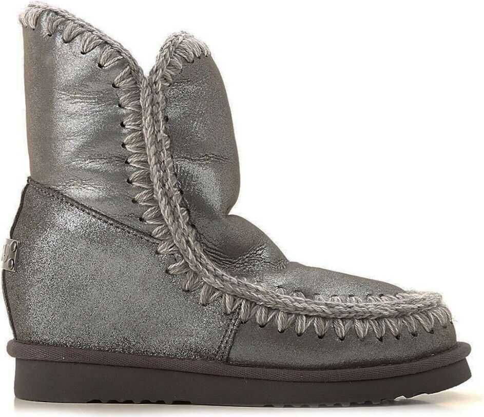Mou Leather Ankle Boots SILVER
