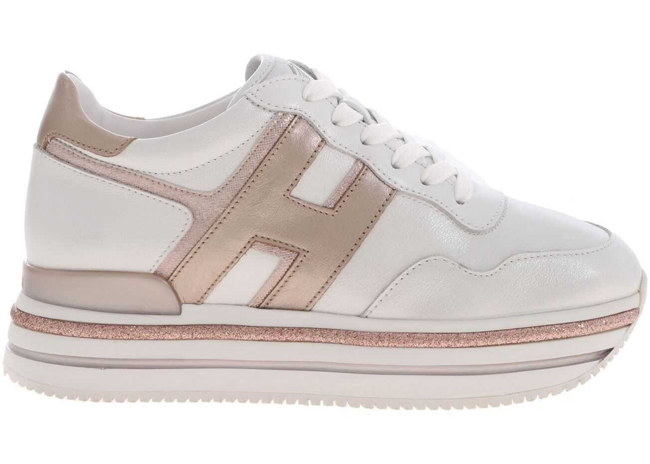 Hogan H468 Sneakers In White And Pink White