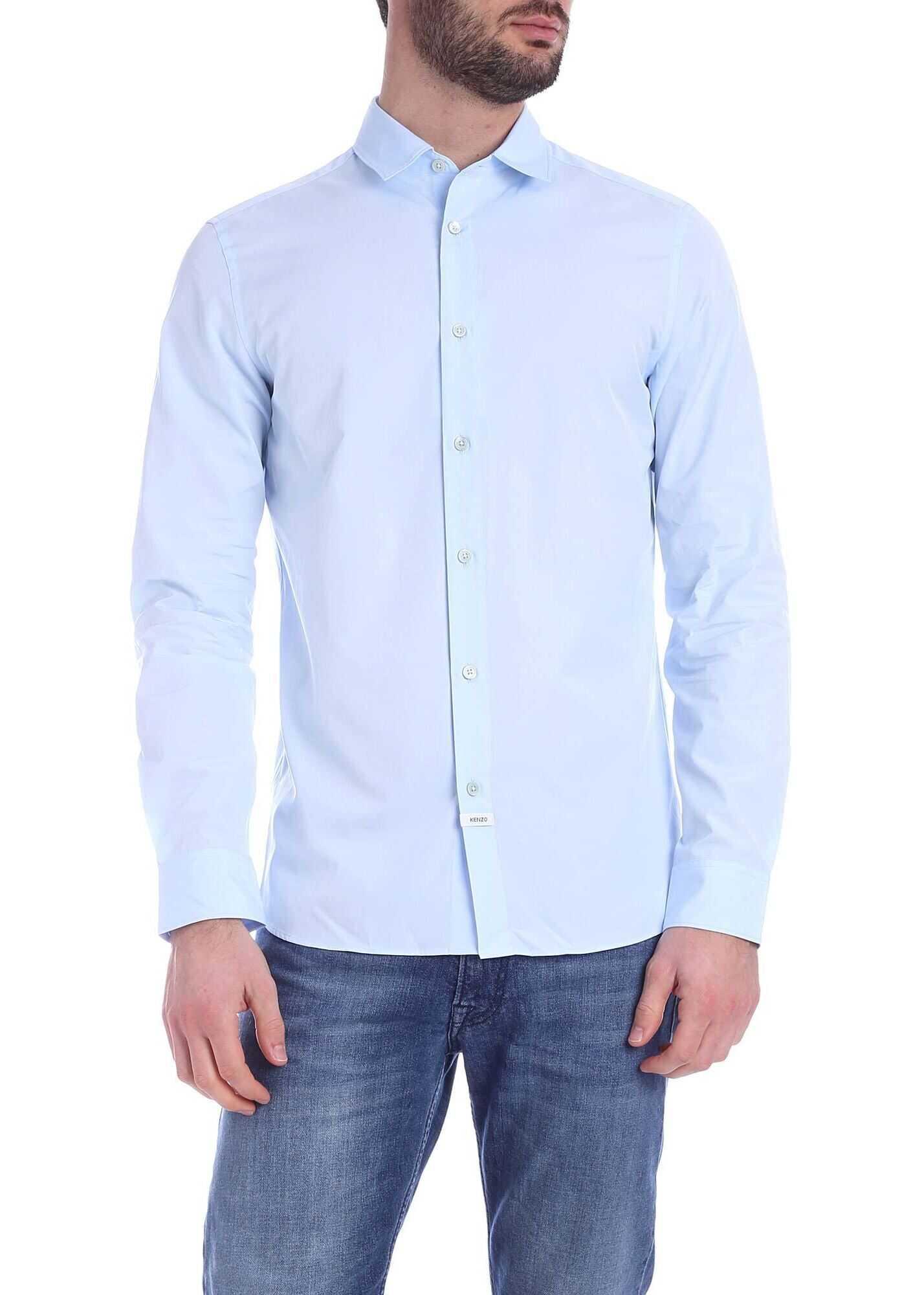 Kenzo Seasonal Black Kenzo Shirt In Light Blue Light Blue imagine