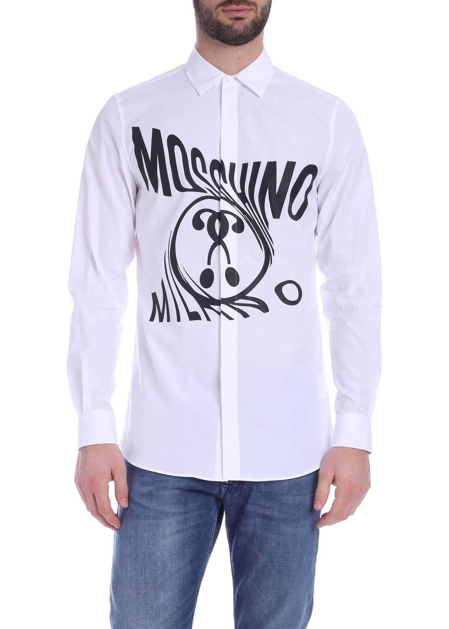 Moschino Logo Distorted Double Question Mark Shirt In White White imagine
