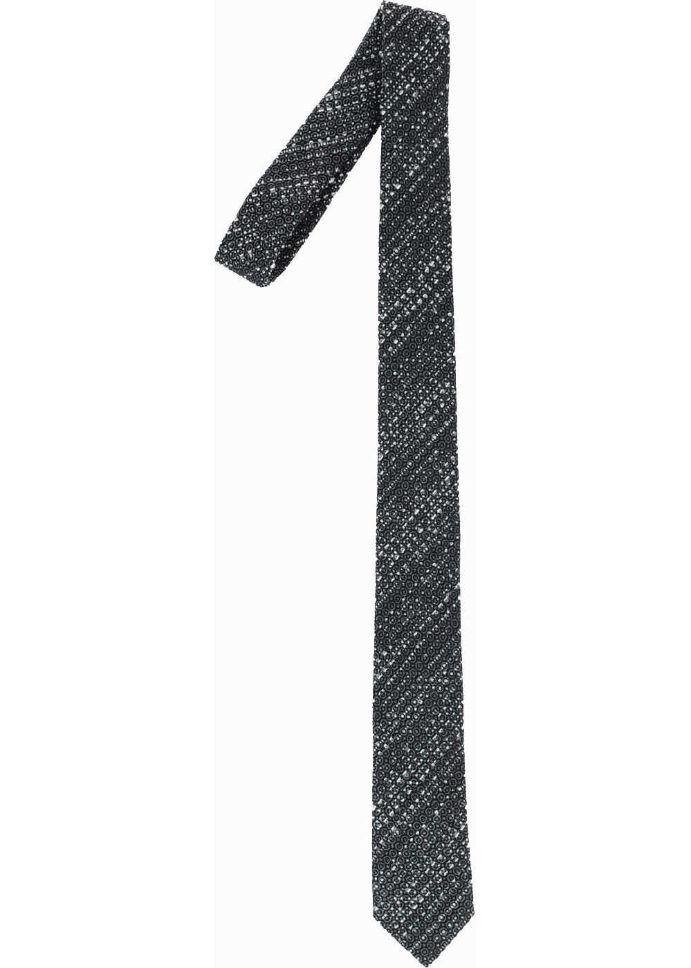 Armani EMPORIO Wool And Silk Jacquard Tie BLACK & WHITE