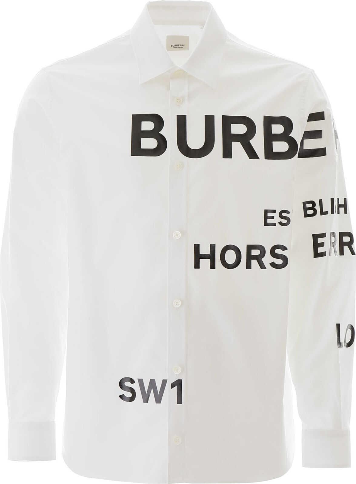 Burberry Topham Shirt Horseferry Print WHITE