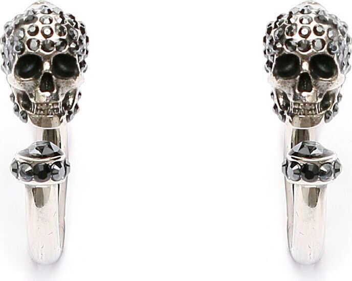Alexander McQueen Pave Skull Earrings JET HEMATITE