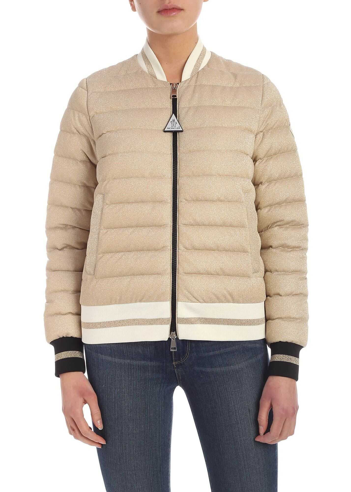 Moncler Or Down Jacket In Gold Color Gold