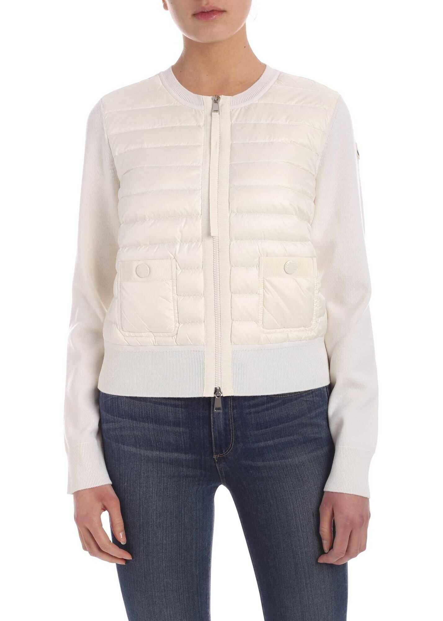 Moncler Padded Insert Cardigan In Cream Color Cream