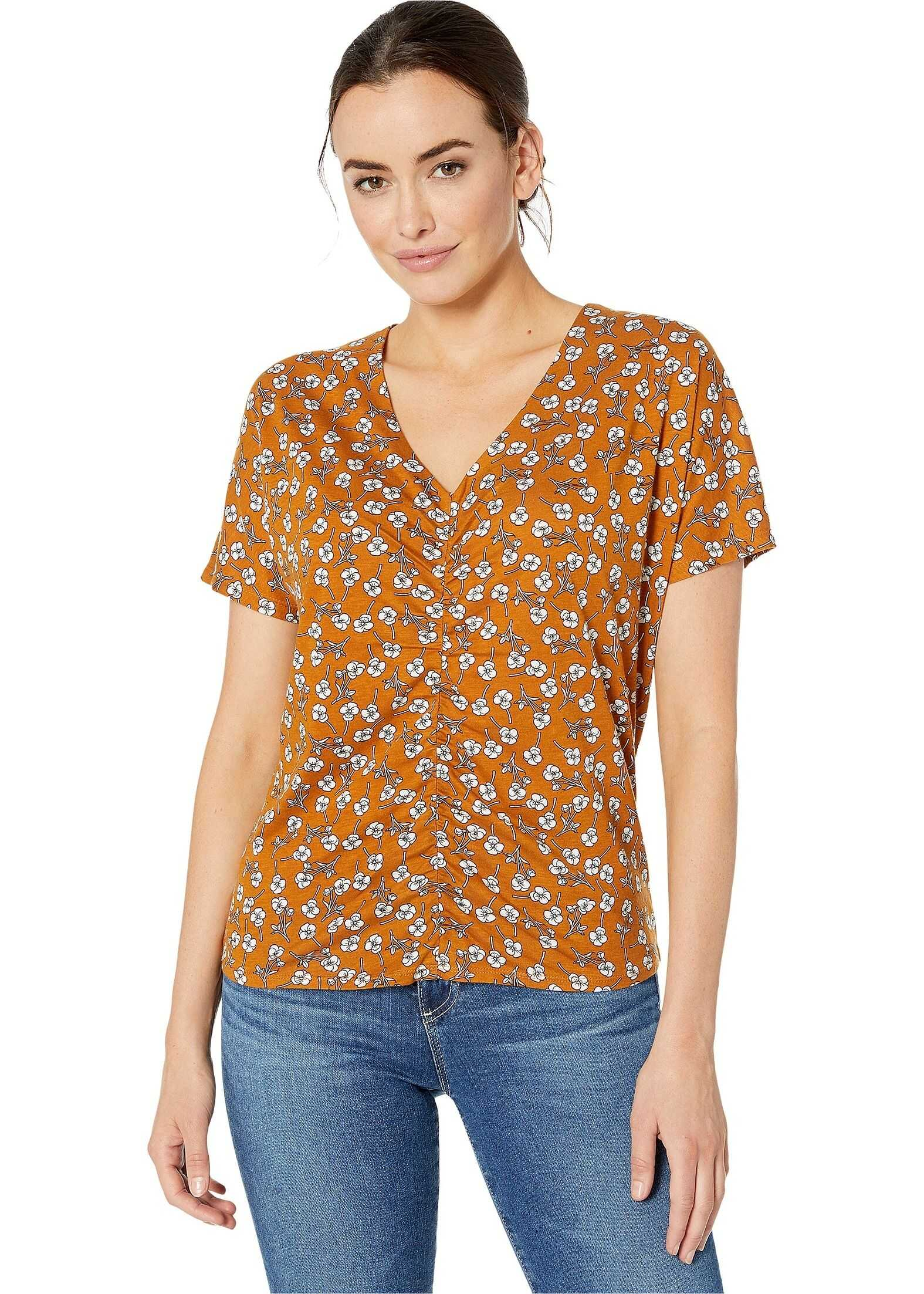 Kenneth Cole New York Ruched Front Top Little Flower Honey