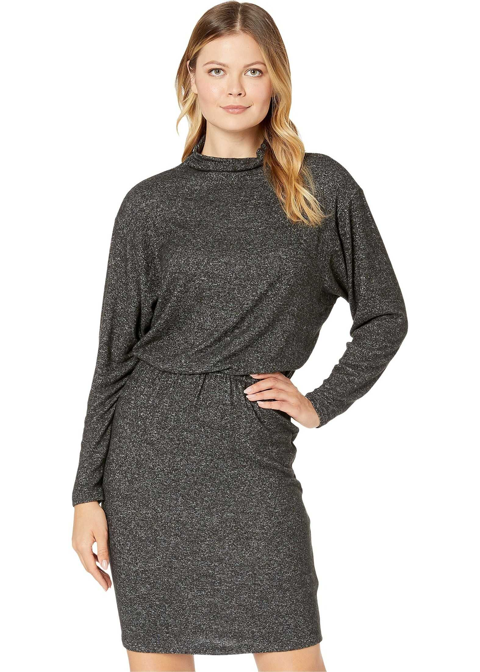 Kenneth Cole New York Ruched Detail Dress Charcoal Grey Heather
