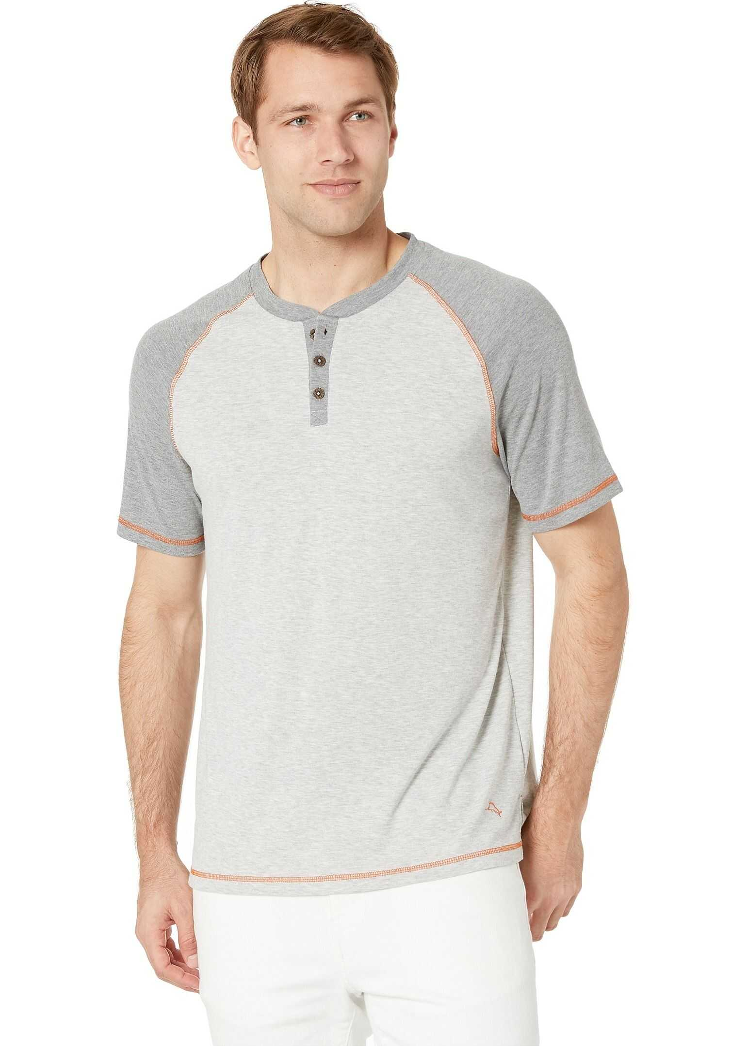 Tommy Bahama Short Sleeve Henley with Wicking Heather Grey