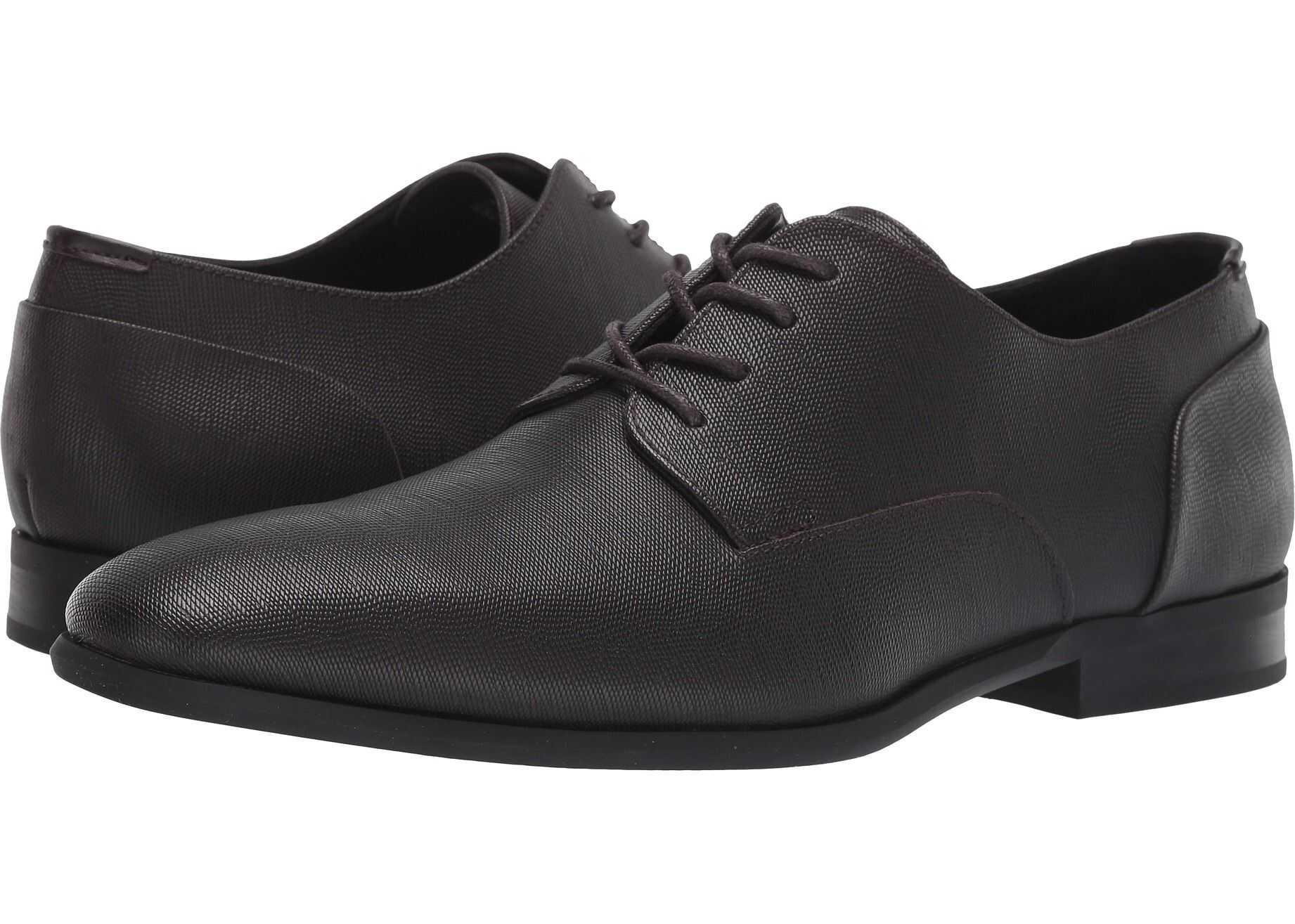 Calvin Klein Lucca* Dark Brown Hatched Emboss Leather