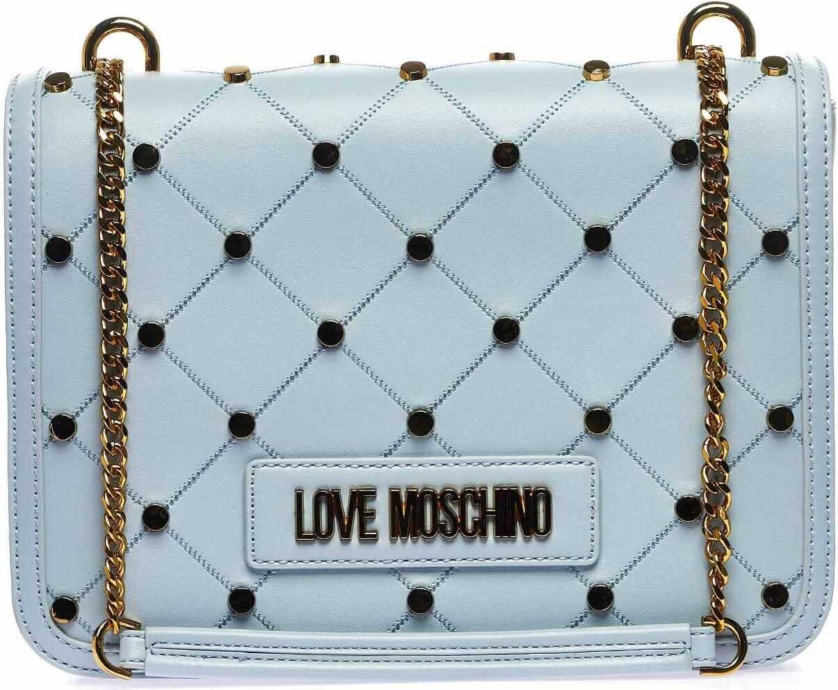 LOVE Moschino Shoulder bag with studs Blue