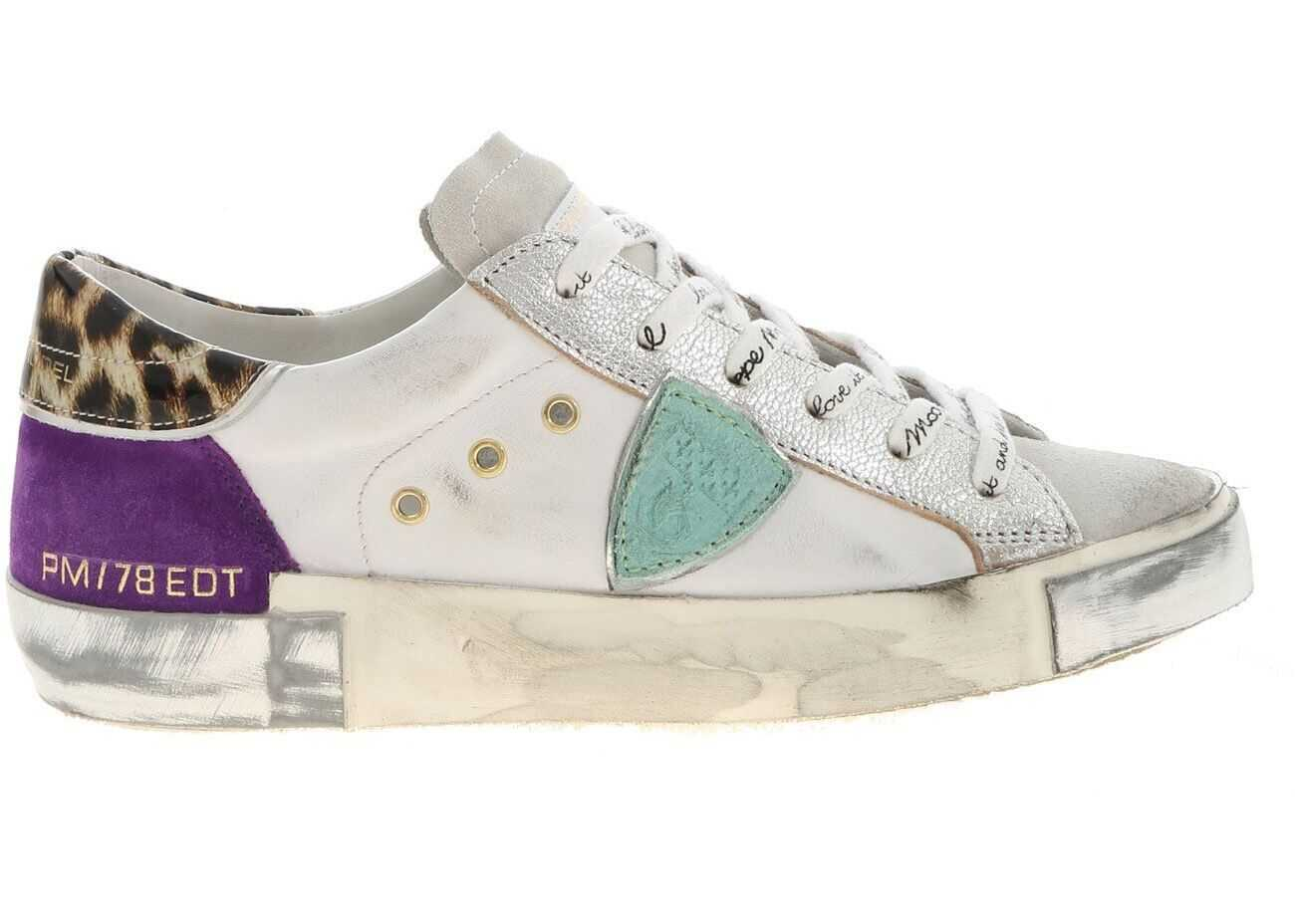 Philippe Model Prsx L Fancy Pop Sneakers In White And Multicolor White