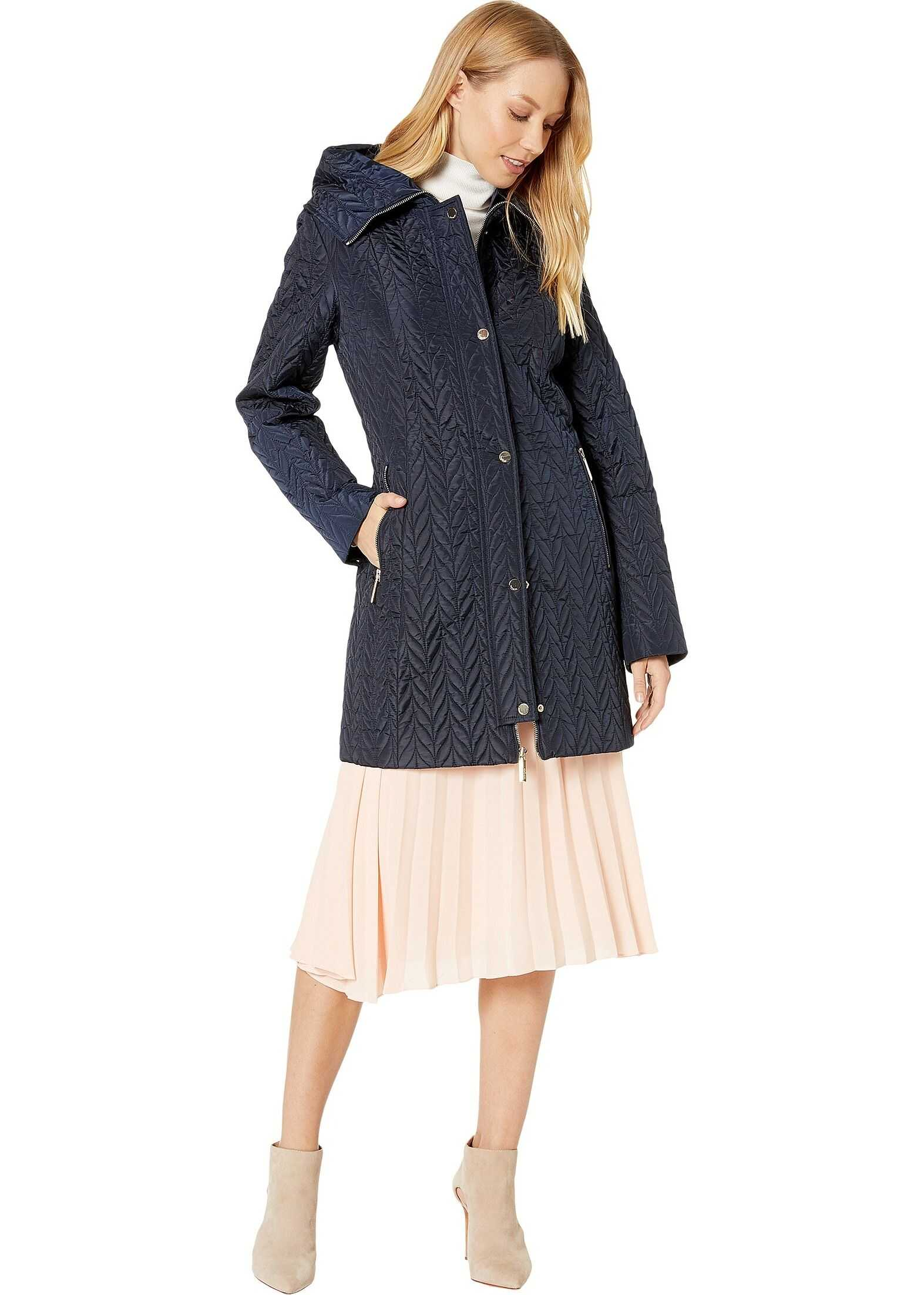 Kate Spade New York Quilted Long Line Jacket English Navy