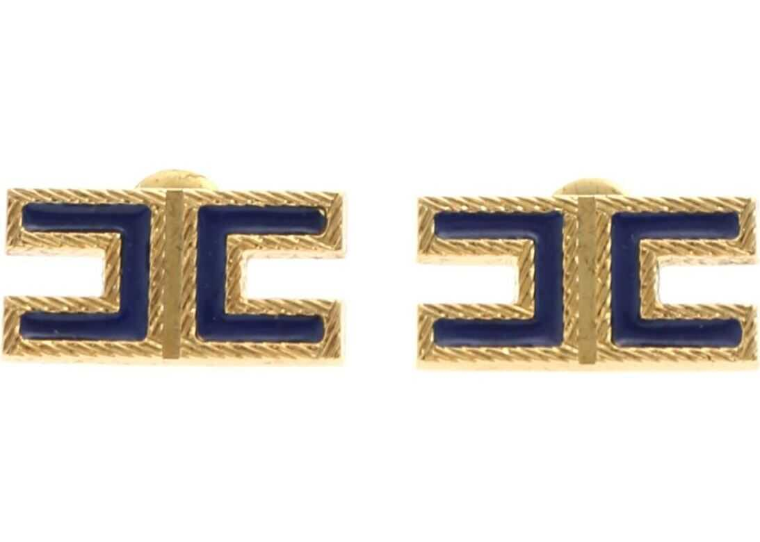 Logo Earrings In Blue And Gold thumbnail