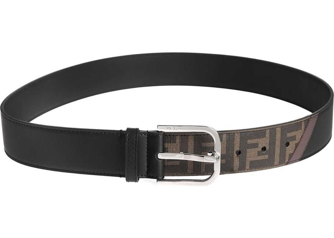 Fendi Black Belt With Ff Detail And Brown Band Brown