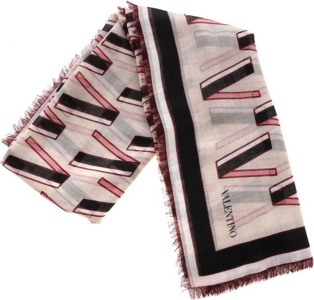 Valentino Garavani Multicolor Stole With V Logo Cream