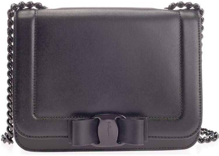 Salvatore Ferragamo Leather Shoulder Bag BLACK