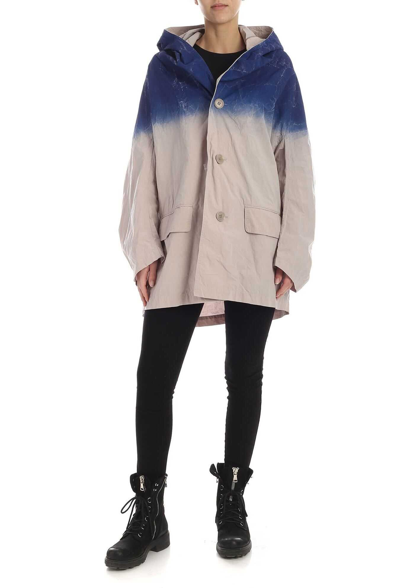 Faded Overcoat In Beige And Blue thumbnail