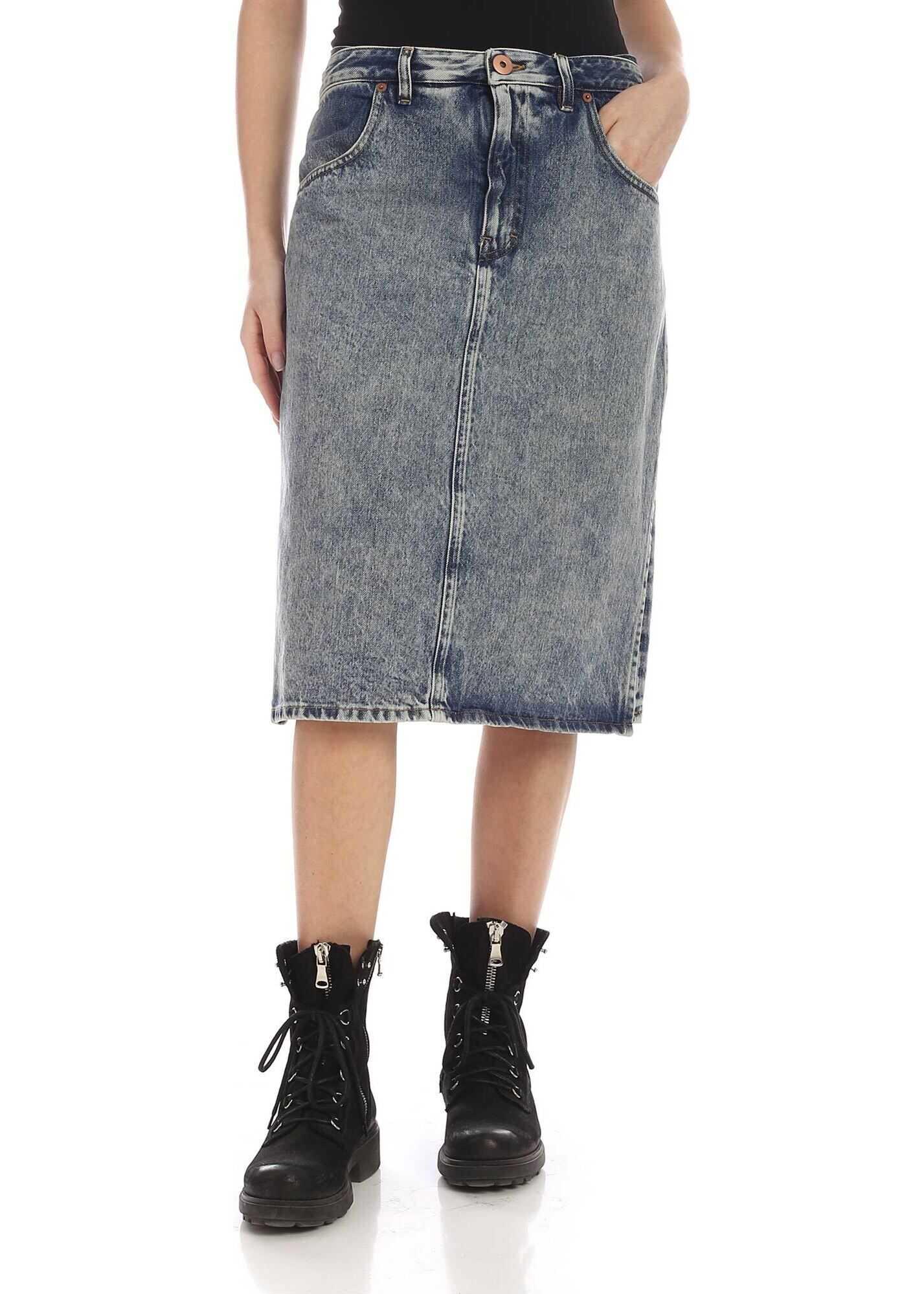 Double Fabric Skirt In Blue Denim thumbnail