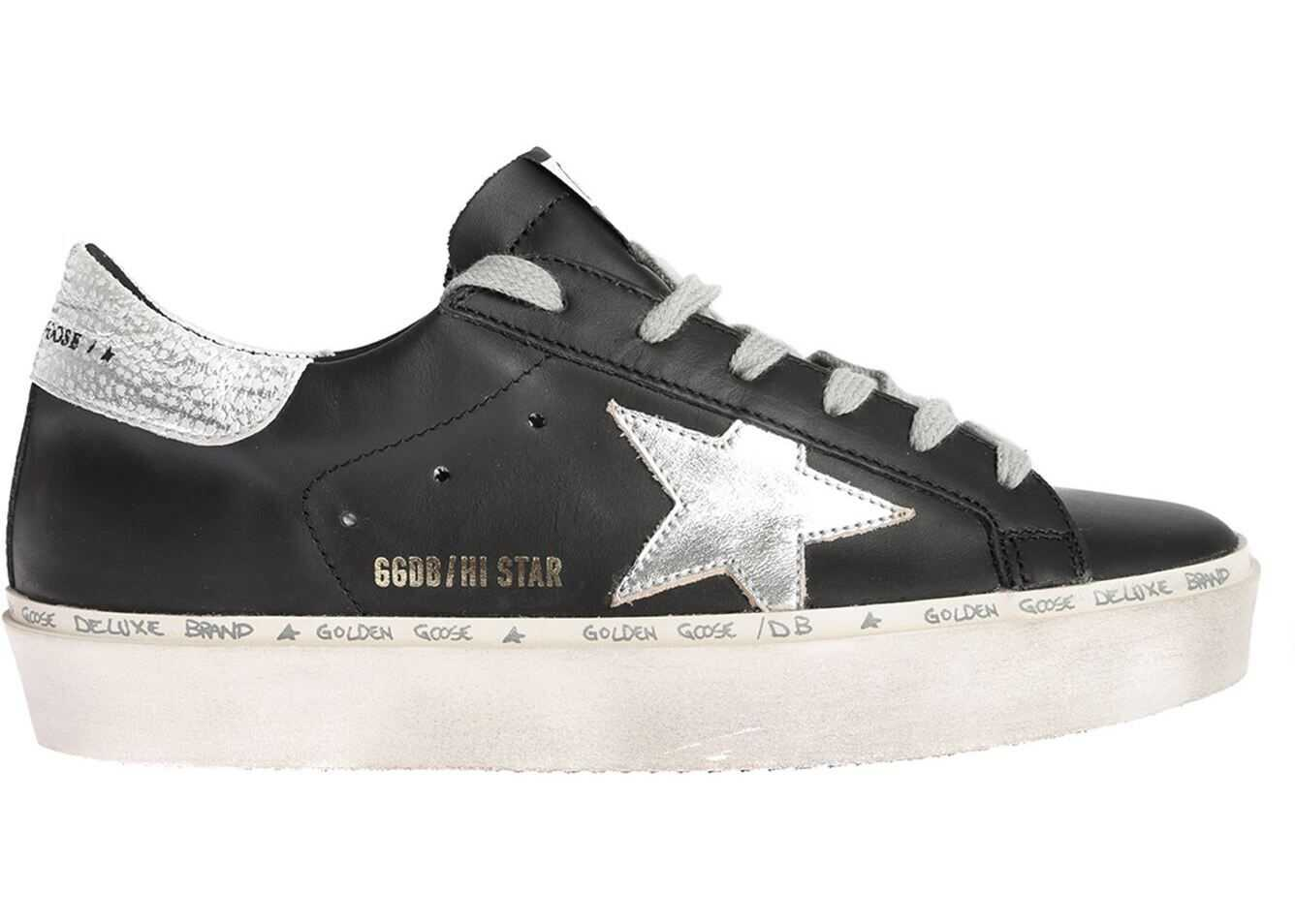 Golden Goose Hi Star Sneakers In Black With Laminated Logo Black