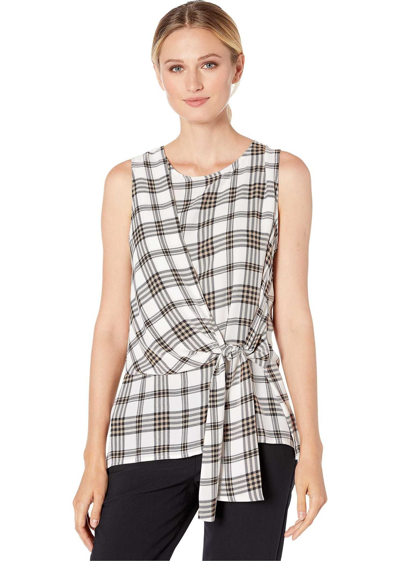 Vince Camuto Sleeveless Asymmetrical Tie Front Highland Plaid Blouse Pearl Ivory