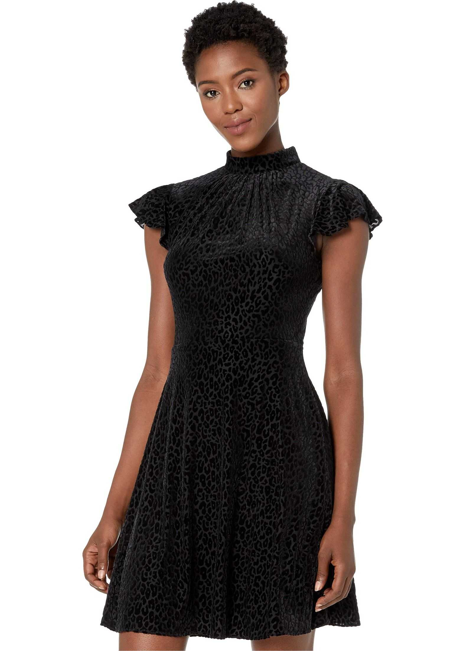 Adrianna Papell Spotted Burnout Fit and Flare Mock Neck Dress Black