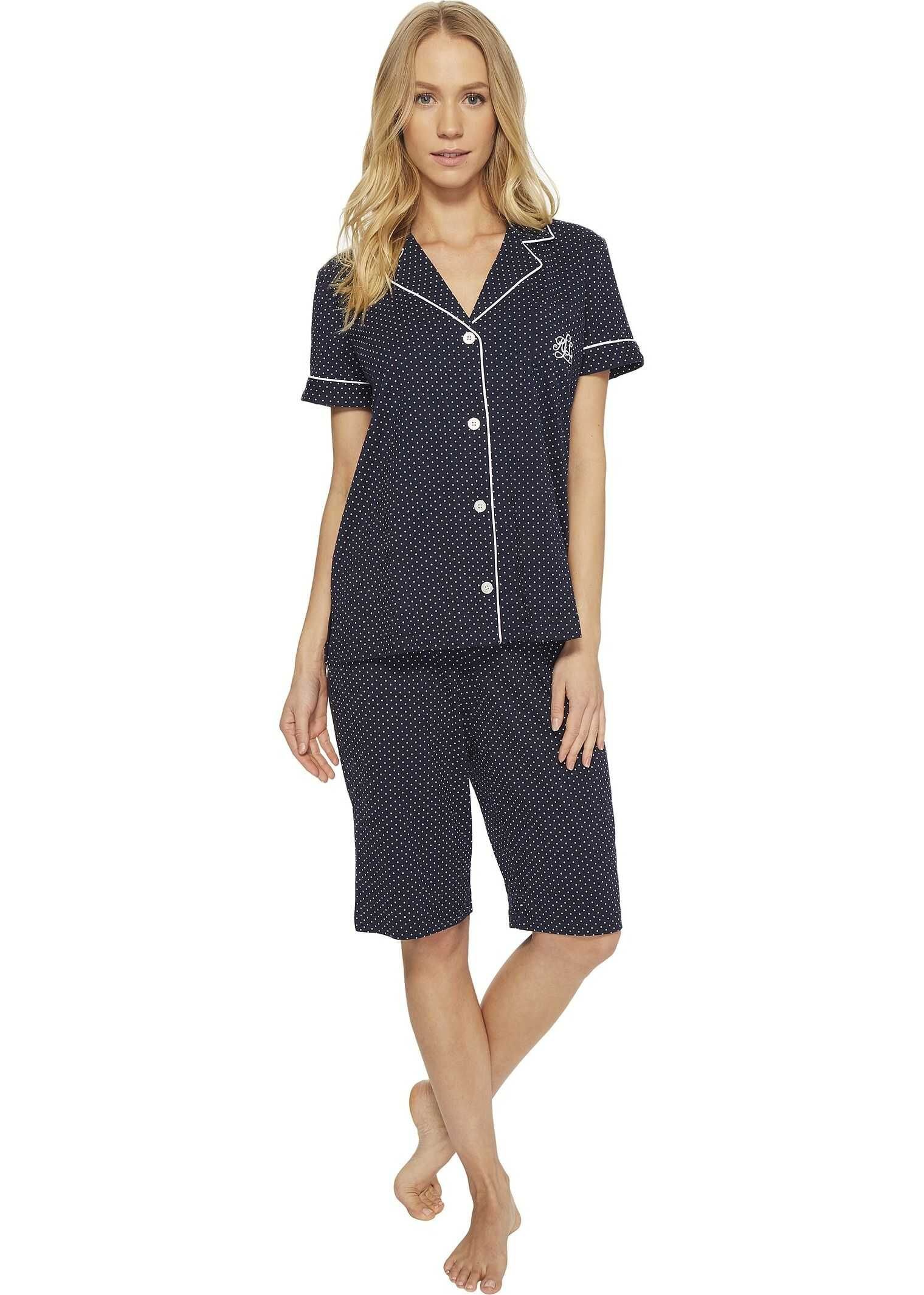 Ralph Lauren Short Sleeve Notch Collar Bermuda PJ Set Windsor Navy/White Dot