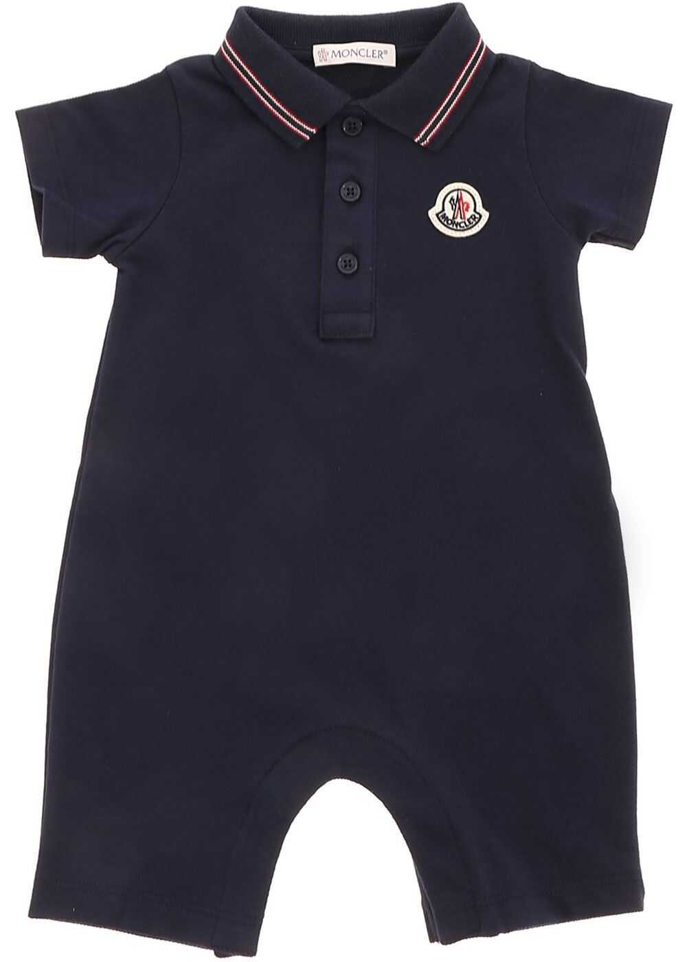 Logo Patch Romper Suit In Blue thumbnail