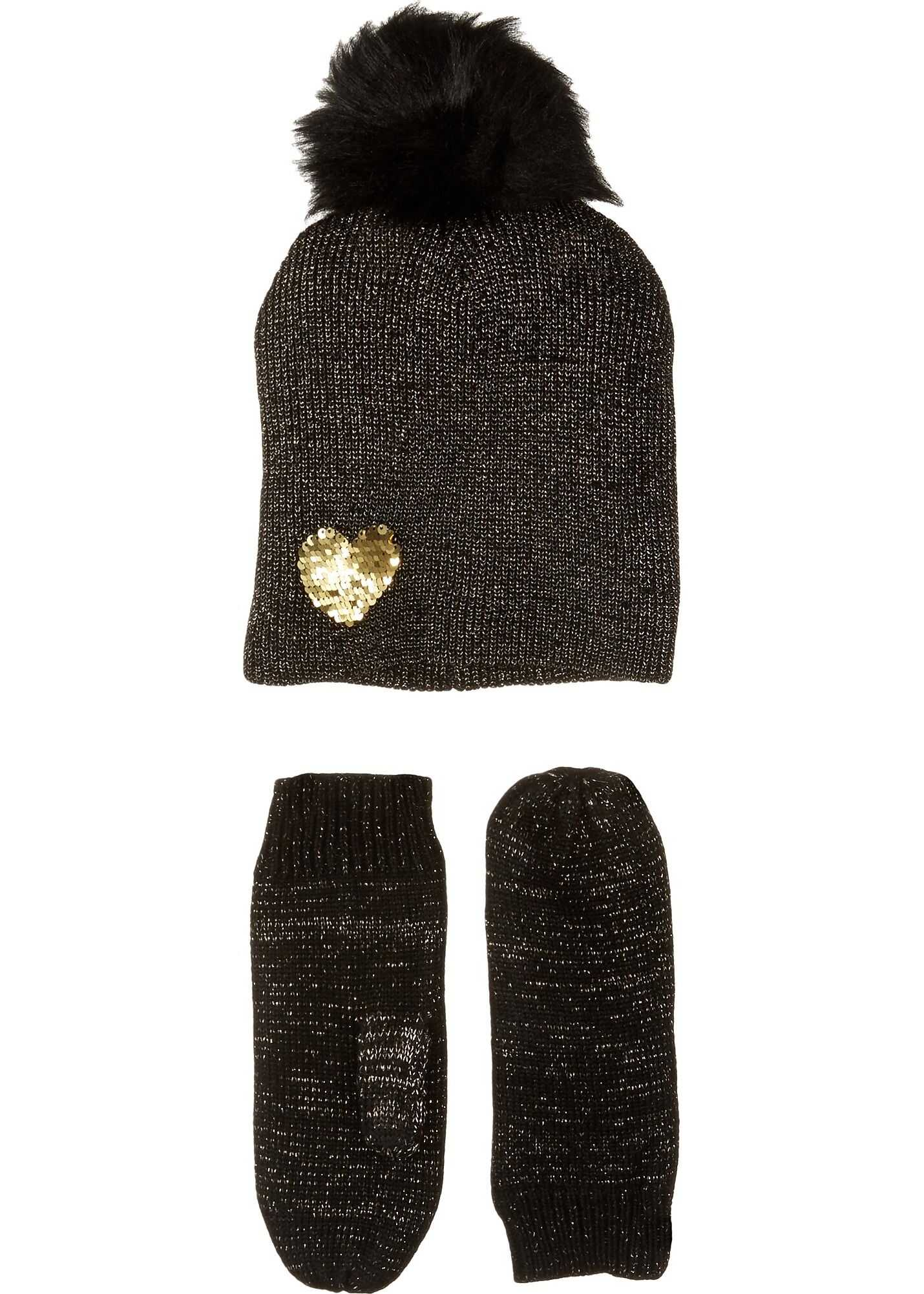 Betsey Johnson Heart to Heart Hat Gloves Two-Piece Set* Black/Gold