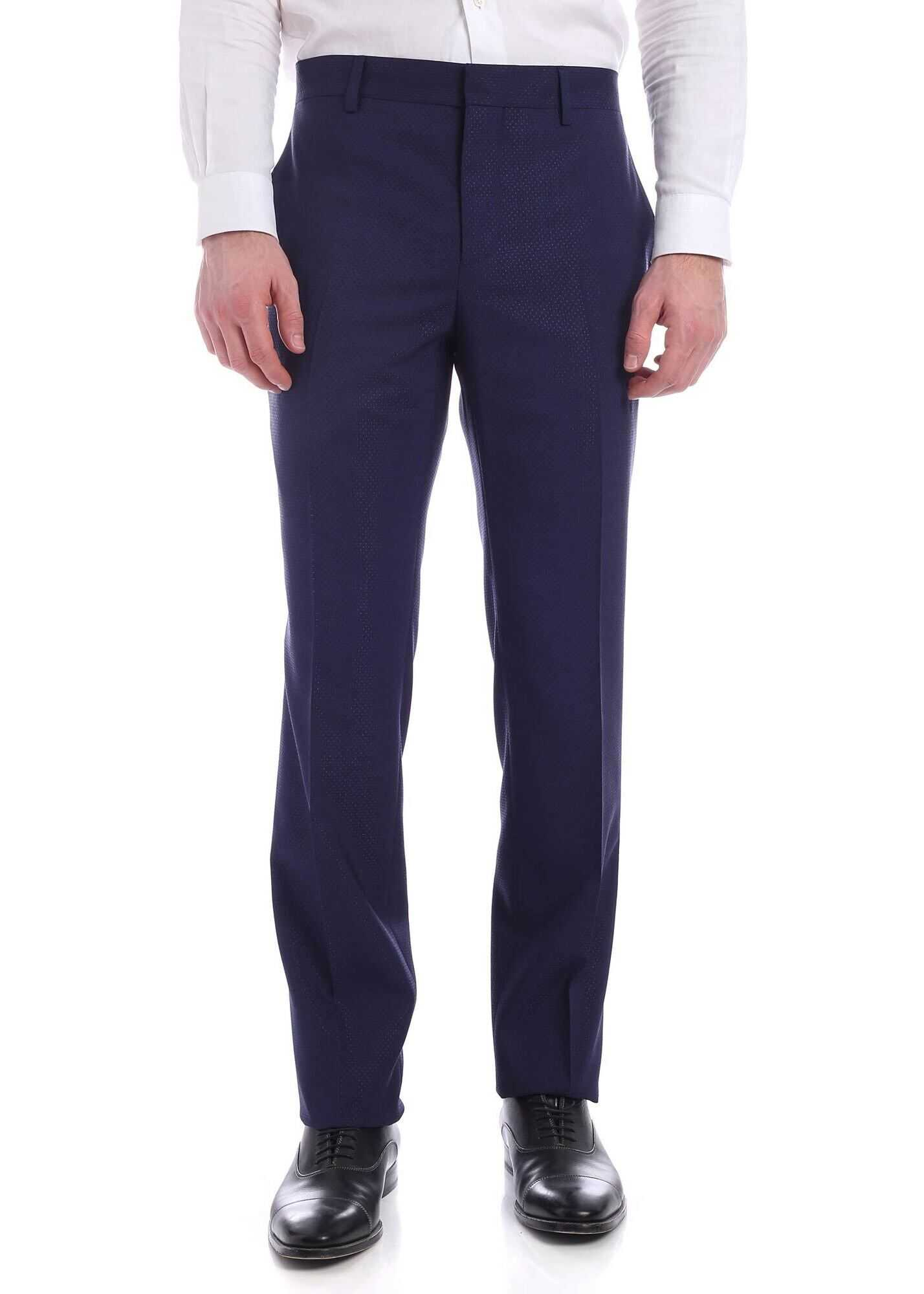Moschino Tone-On-Tone Micro Pattern Pants In Blue Blue imagine