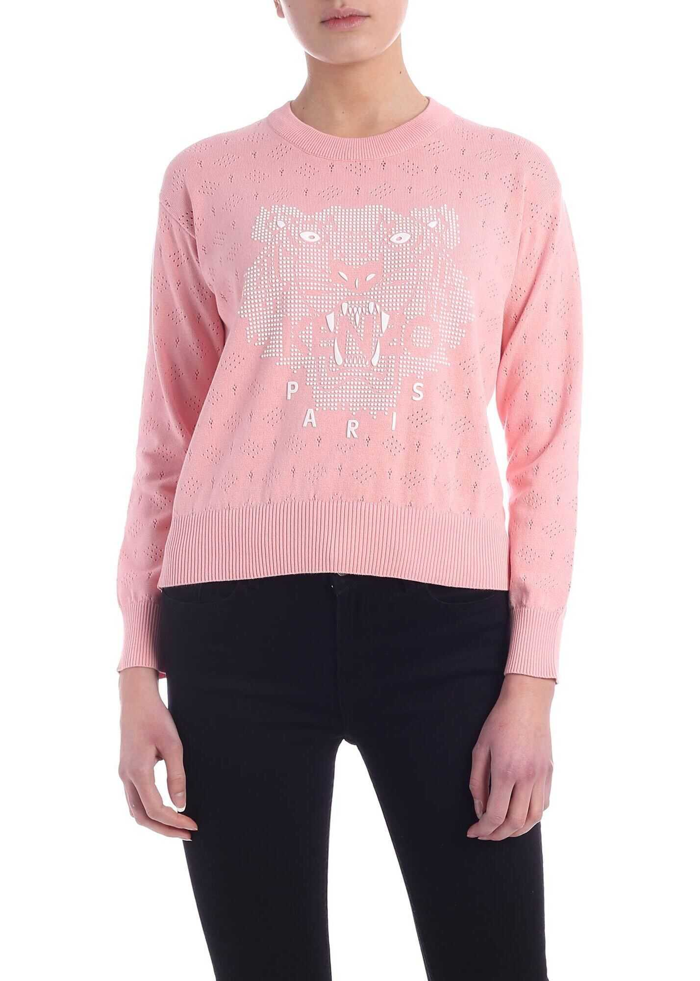 Kenzo Tiger Pullover In Salmon Pink Pink