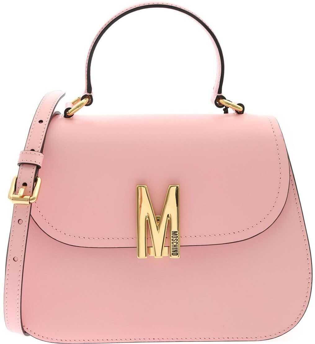 Moschino M Logo Fastening Handbag In Pink 7470 8006 0242 Pink imagine b-mall.ro